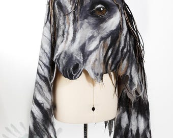 Pegasus Shawl / Wings  /  Horse / Silk scarf  / Nuno felt / Handmade felted shawl / Merino wool  /  Made to order/ Free shipping.