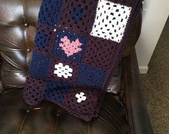 Handmade Multi-Colored Adult Crocheted Granny Square Afghan