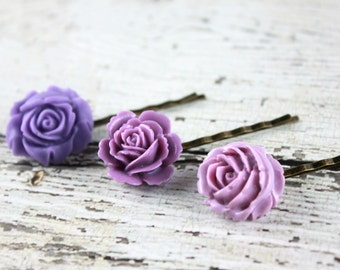 Purple Bobby Pins - Purple Rose Bobby Pins - Purple Flower Bobby Pins - Purple Wedding Hair Pins - Rose Wedding Hair Pin, Lavender Bobby Pin