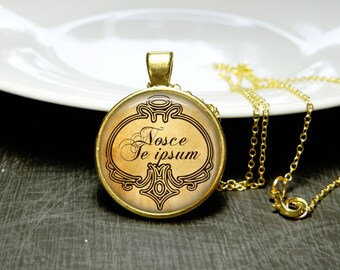 Latin Quote Necklace Quote Gift Latin Quote Jewelry Finding Wisdom Know Thyself Quote Nosce Te Ipsum Quote Necklace Self Love Jewelry Gift