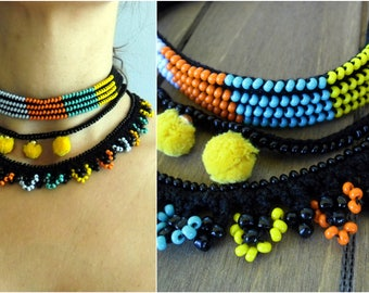 Crochet Choker, Colorful Necklace, Bohemian Necklace, Choker, Beaded Necklace, Pompons, Crochet Jewelry, Handmade Necklace, Freeform Crochet