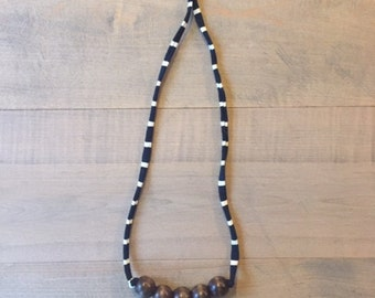 T-shirt Yarn Necklace with Wooden Beads - Navy and White Striped with Walnut Beads
