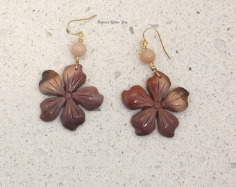 Earrings, Dogwood Blooms, Mookaite Jasper, Pink Opals, 14Kt Gold Filled Wires   E17002