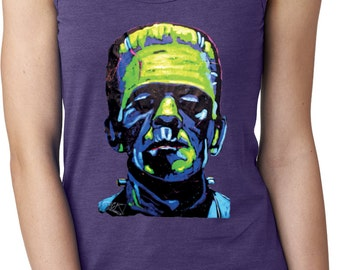 Ladies Frankenstein Face Ideal Tank Top 20719NBT2-N1533