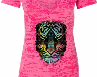 Ladies Dripping Neon Tiger Burnout V-Neck Shirt 19951NBT2-NL6540