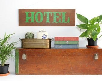 Wood Hotel Sign, Wall Decor, Wall Art
