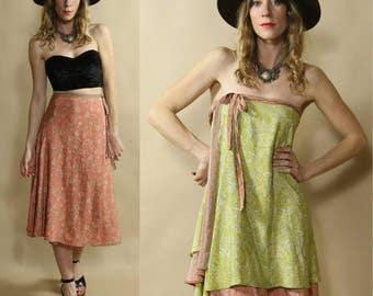 Vintage Indian Silk Soft Pink & Light Green Floral Paisley Wrap Skirt, Boho Dress