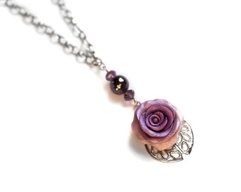 Violet rose necklace Romantic pendant Bohemian jewelry Floral jewelry Rose charm necklace Women gift for her  Boho chic Statement necklace