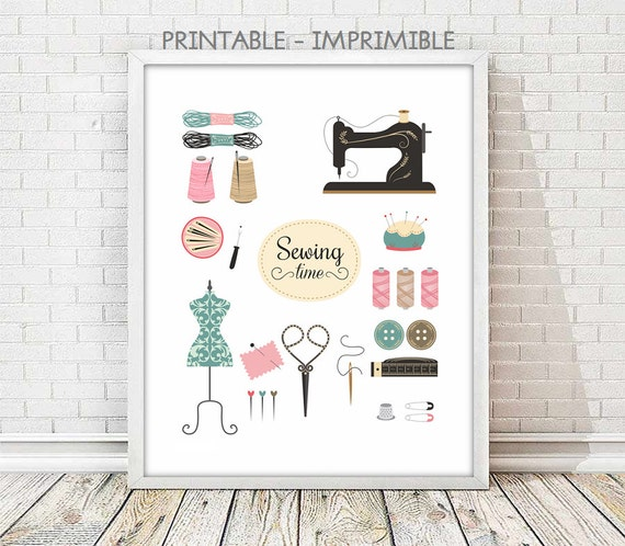 Wall Decor Craft Room : Sewing print vintage wall decor craft