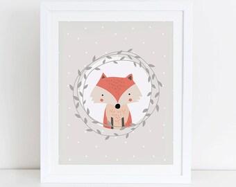 Fox Art Print, Fox Printable, Woodland Nursery Art Print, Instant Download, Digital Art Print, Woodland Animals Nursery Decor, Fox Floral