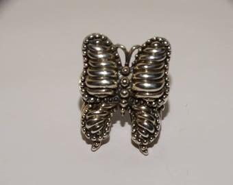 925 Sterling Silver Size 6.5 Large Filigree Butterfly Ring.