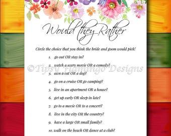 Bridal Shower Game, Would They Rather, Floral Bridal Shower, Shabby Chic, Flowers, Watercolors, Printable, Instant Download T319J