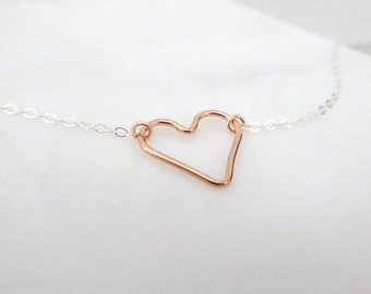 Rose gold heart necklace, Dainty open Heart Necklace, Sterling silver heart necklace, Dainty layering necklace