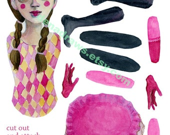A Pink Harlequin Digital Printable DIY articulated paper doll