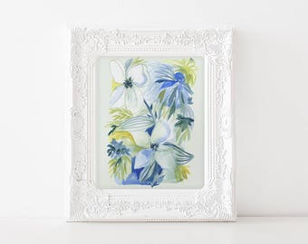 Blue Botanical Watercolor - 8x10 wall art - Blue Abstract Floral- vintage style floral modern watercolor - vintage textile influence