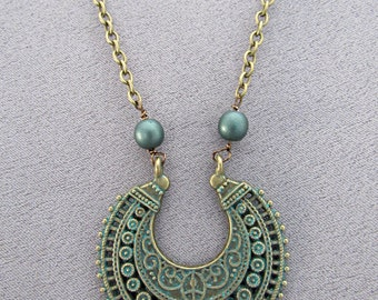 Etched Brass Necklace/Pendant/Patina/Blue-Green/Gift