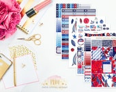Red, White, and Blue Weekly Kit   Planner Stickers   Floral Stickers   Planner Stickers designed for use with the Erin Condren Life Planner