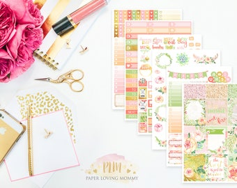 Summer Blush Weekly Kit | Planner Stickers | Floral Stickers | Planner Stickers designed for use with the Erin Condren Life Planner
