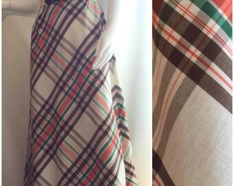 70s Plaid Maxi Skirt
