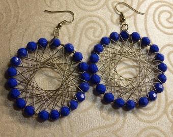 Blue Beaded Wire Wrapped Earrings