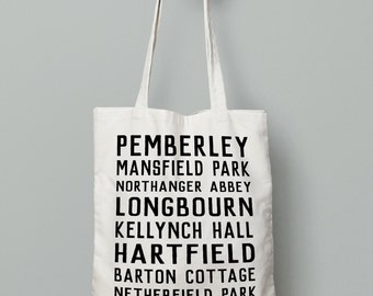 Jane Austen Tote Bag, Book bag, Jane Austen Places, Pride and Prejudice, Mr. Darcy, Jane Austen Gift, Pemberley, Sense and Sensibility