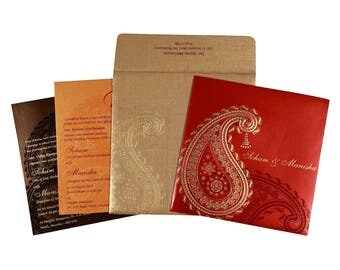 Indian wedding Invitations in RED+GOLDEN COLOR