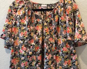 Brown floral Graff blouse