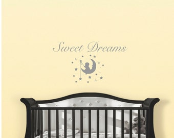 Nursery wall decal, nursery wall art, nursery wall quotes, baby wall decal, baby wall quotes, nursery decal, baby room decal, sweet dreams