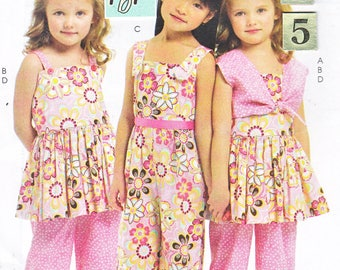 Girl's Summer Top, Ruffled Capri Pants Sewing Pattern/ McCall's 6064 Sleeveless Top, Jumpsuit, Capris, Bolero, UnCut/ 2 3 4 5 year