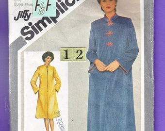 1970's Stand up Collar Robe, Dressing Gown Sewing Pattern/ Simplicity 9782 Asian Zipper Front, loungewear caftan/ Size 12 Bust 34