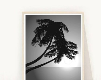Palm Tree, Printable Art, Black and White Photography, Palm Tree Art, Minimalist Poster, Wall Decor Instant Download, Wall Art