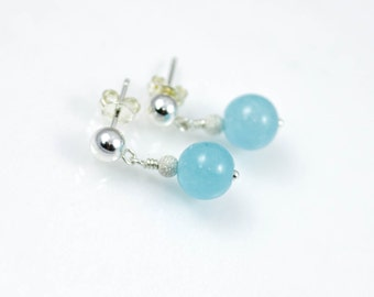 Blue jade earrings, blue gemstone earrings, sterling silver gemstone earrings, gemstone drop earring, dangle earring, semi precious gemstone