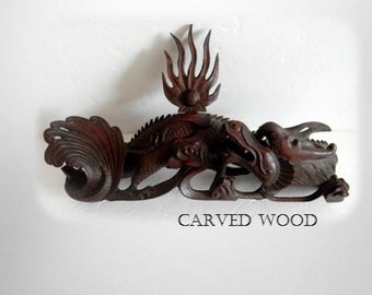 Carved vintage wood oriental dragon figurine - very detailed