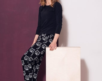 Handmade women's trousers BEAR. Black pants. Maternity pants. Hand made. Cotton clothes. Made in Poland. Matching mother and child pants.