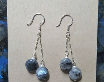 Larvikite Silver Earrings