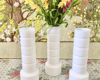 3 Milk Glass Vases Milk Glass Bud Vases Wedding Centerpiece Wedding Vases Mid Century Vase White Vases Vintage Milk Glass