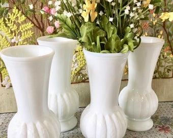 Milk Glass Vases Wedding Centerpiece Bridal Shower Centerpiece Flower Vases White Vases Lot of Vases Feather Decor Sold Individually
