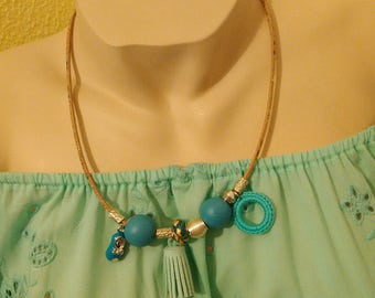 Jewelry, Necklaces, blue collar in Cork, cork, Blue Necklace, Handicraft, Handmade, Bijou, Women accessories, Gift for her