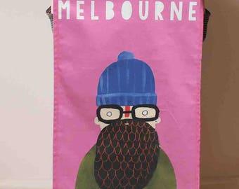 Melbourne Hipster Tea Towel - funny Melbourne Australia gift idea souvenir - Australiana