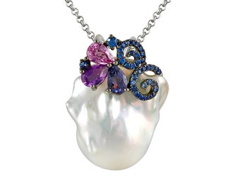 Baroque Freshwater Pearl, Sapphire & Gemstone Pendant Necklace 14k White Gold, Anniversary Gifts for Women, Cyber Monday 2016 Sale, Wedding