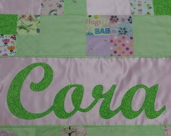 Custom Baby Quilt Personalized Blanket Embroidered with Name