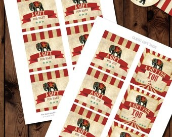 Circus Baby Shower Gift Tags, Circus Gift Tags, Circus Baby Shower Printables