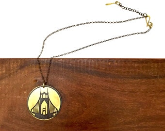 St Johns Bridge Necklace, Made in Oregon, Bridges of Portland, Brass Etched Necklace, Short Handmade Chain Necklace, Hand Forged