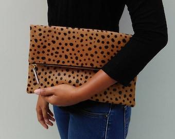 Leopard clutch, Genuine leather, leopard fold over clutch, leopard print clutch, leopard leather clutch, leather clutch, leopard purse women
