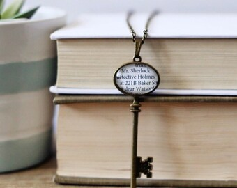 Sherlock Holmes 221B Baker Street. Dear Watson book quote skeleton key necklace. Sir Arthur Conan Doyle.  Literary necklace.