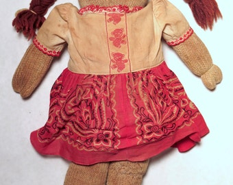 Primitive Folk Art Sock Doll w/ GREAT VINTAGE CHARACTER -- Tattered, Aged, Discolored +++