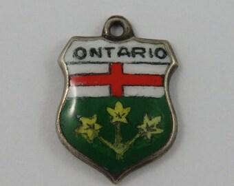 Ontario Enamel Travel Shield Sterling Silver Vintage Charm For Bracelet