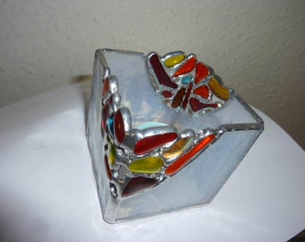 Stained glass candle holder, Stained glass box.