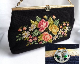 VINTAGE TAPESTRY FLORAL Handbag / Vintage 1960s Petit Point Unique Ornate Green Stone Clasp /Large Tapestry Purse - Gold Chain Top Handle