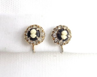 Vintage Vargas Rhinestone and Cameo Screw Back Vintage Earrings - Estate Jewelry